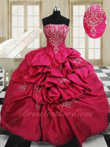 Embroidery Hot Pink Bublle Taffeta Skirt Young Girl Quinceanera Gowns Ceremony
