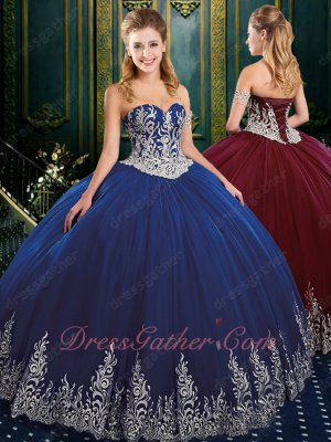 Western Quinceanera Ball Gown Dark Royal Blue Gauze Dress Silver Embroidery