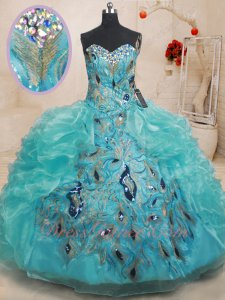 Middle Peacock Tail Appliques Side Ruffles Turquoise Quinceanera Ball Gown Special