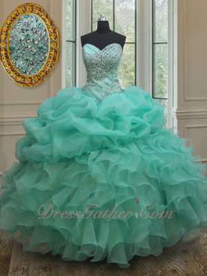 Stunning Mint Green Ball Gown Quinceanera Dresses Beaded Sweet 16 Dress to Party