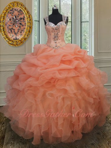 Double Straps Full Tulle Cover Back Peach Pink Organza Quinceanera Ball Gown 2019