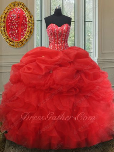 New Style Beaded Bodice Half Bubble Half Ruffles Red Quinceanera Ball Gown High Street