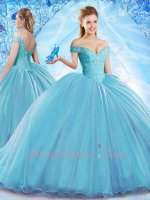 Crazy Off Shoulder Flat Tulle Puffy Skirt Ice Blue Quinceanera Ball Gown 20in Train