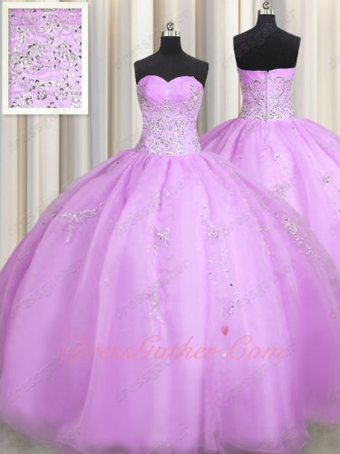 Dignified Floor Length Quinceanera Ball Gown Lilac Organza With Silver Embroidery