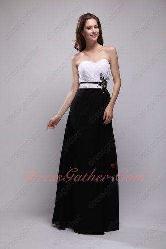 White Top Black Bottom Chiffon Skirt Classical Match Color Evening Prom Gowns
