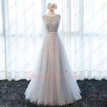 Dignified Silver Lace A-line Evening Dress With Rhomboid Pearl Craftwork Boutique