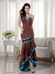 Promotion Discount Sheathy High-low Cocktail Prom Dress Sienna Brown and Aqua Blue