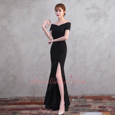 Stylish Close-fitting High Side Split Black Spandex Fabric Evening Dress