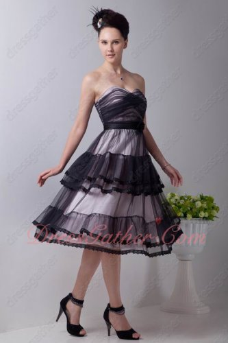 Lolita Tea Length Layers Tulle With Lacework Black Evening Dress Pink Lining