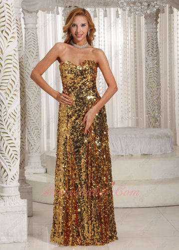 Shiny/Sparkling Gold Paillette Sequin Evening Pageant Dress Performance Stage Prop