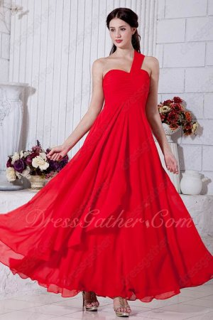One Shoulder A-line Ankle Length Formal Meeting Equal Prom Dress Red Chiffon