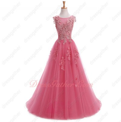 Pretty See Through Scoop Watermelon Tulle Girls Formal Dress Style Popular Of 2019