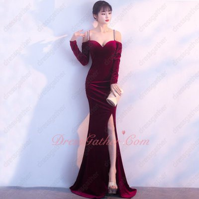 Junoesque Double Straps Cross Back Sexy Split Velour Runway Show Gowns