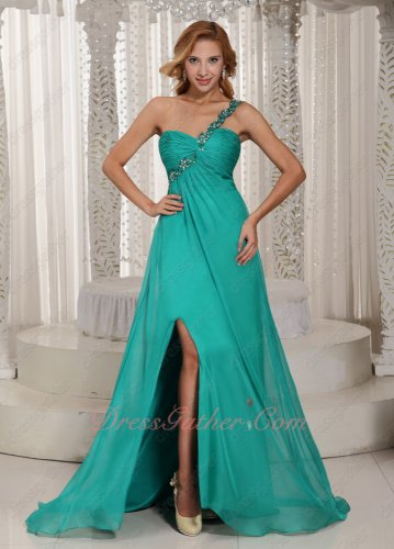 Single Strap With Beading Turquoise Slit Skirt Boutique Gowns Evening New York