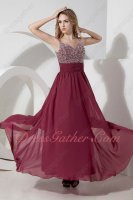 Cherry/Pale Wine Red Dual Straps Stylish Evening Dress Full Silver Beading Bodice