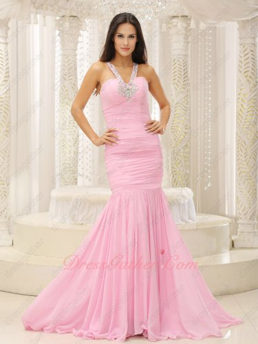 Elegant Beaded Halter Strap Baby Pink Mermaid Formal Evening Gowns Sweep Train