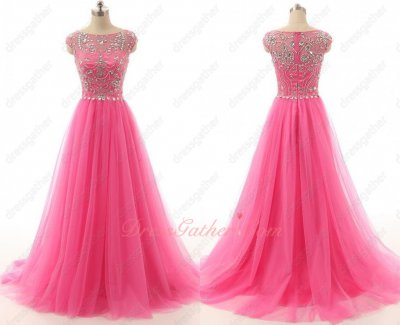 Amazon Silver Beading Hot Pink Tulle Multilayered Skirt Dancers Partner Dress