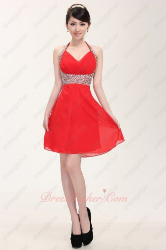 Girlish Halter Neck Short Red Vacation Prom Dress Under 80 Dollar