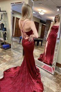 Elegant Scoop Spaghetti Straps Cross Back Mermaid Burgundy Prom Dress With Side Slit