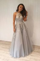 Dignified Halter Silver Appliques Graduation Ceremony Prom Dress Good Reputation