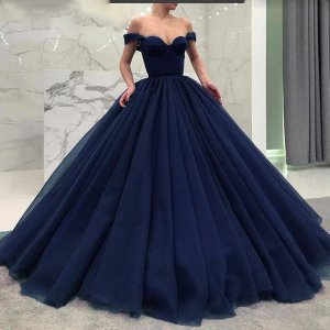 Off Shoulder Fish Boning Bodice Voluminous Box Pleats Skirt Navy Blue Quinceanera Ball Gown