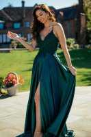 Beading and Applique Accented Slit Prom Pageant Gown Dark Green