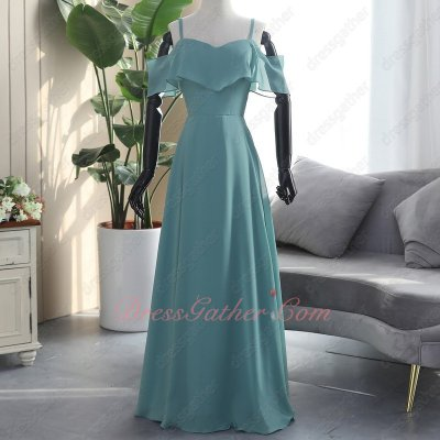 Haze Turquoise Spaghetti Straps Flouncing Gliding Bridesmaid Dress Good Reputation