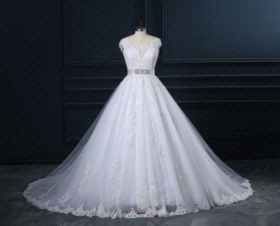 Custom Made Appliques Chapel Train White Wedding Bride Dress Factory Direct Sell