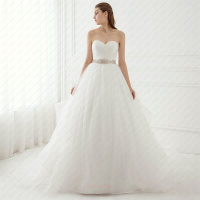 Contracted Sweetheart Crossed Wrinkle Puffy Cheap Wedding Gown Crystals and Horsehair