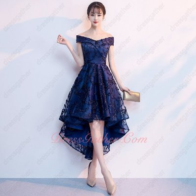 B2C Mode Fashionable V-neck High Low Navy Blue Lace Prom Party Dress