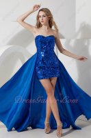 Royal Blue Sequin Short Skirt Cocktail High Low Dress Detachable Taffeta Train DIY