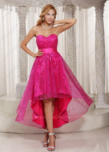 Shiny Fuchsia Sequin High-low Stage Effect Vintage Cocktail Prom Dress Leisure