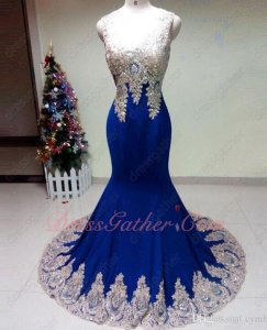 V Neck Mermaid Silhouette Gold Pineapple Shaped Applique Evening Gowns Royal Blue Sexy