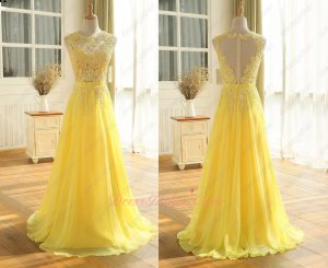Sheer Blouse Appliques Floor Length A-line Bright Yellow Attend Occasion Prom Evening