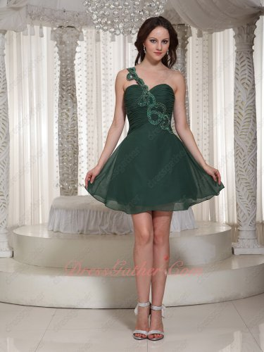 Mature Beaded One Shoulder Ruched Peacock Green Lady Prom Dress Under 80 Dollar