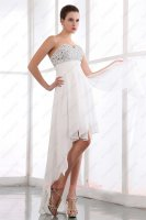 Graceful AB Colorized Crystals High Low Evening Prom Gowns Factory Direct Selling