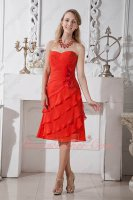 Scarlet Red Chiffon Oblique Layers Wives Appropriate Formal Party Wear