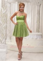 Pretty Tulle Covered Twinkling Sequin Grass Gree Girl Party Prom Dress With Ribbon