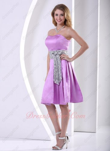 Strapless Lustrous Lilac Thick Satin Bridesmaid Dama Group Dress Silver Sequins Sash