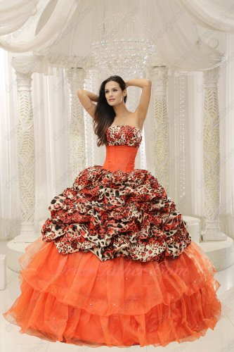Orange Red Layers/Leopard Bubble Train Overlay Cake Quinceanera Ball Gown Cheap