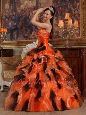 Orange and Black Organza/Tulle Mixed Ruffles Quinceanera Ball Gown Dignified