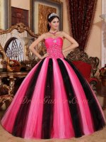 Contast Color Hot Pink/Baby Pink/Black Mixed Mesh Fluffy Quinceanera Evening Ball Gown