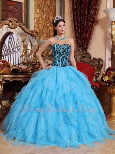 Pretty Aqua Cascade Skirt Embroidery and Lines Natural Waist Basque Quinceanera Gown