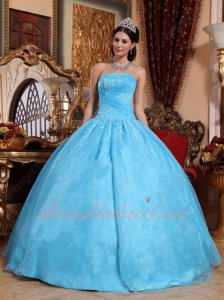 Pretty Aqua Blue Flat Organza Embroidery Quince Ball Gown Crossed Ruching Bodice
