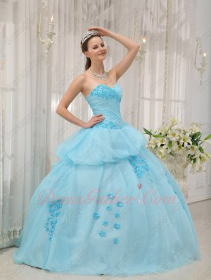 Nifty Baby Blue Young Girl Floret Quinceanera Dress Factory Direct Sale