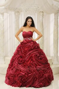 Pretty Wine Red Rolled Flowers Quinceanera Dress Puffy For Evening Party