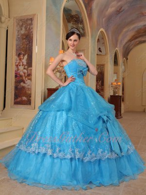 Shiny Sequin Fabric Azure/Aqua Blue Quinceanera Party Ball Gown With Bowknot