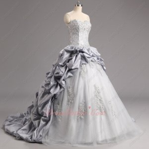 Custom Made Silver Taffeta Bubble Train Sparkle Tulle Quinceanera Ball Gown Lace Bodice