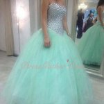 Full Crystals Bodice Mint Apple Green Girls Quinceanera Ball Gown Cheap Under 180