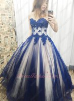 Dark Royal Blue Tulle Champagne Lining Inside Mix Style Girls Quinceanera Gifts Cheap